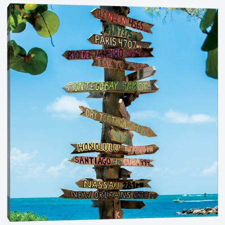 Key West Directional Sign IV Canvas Print #PHD163} by Philippe Hugonnard Canvas Art Print