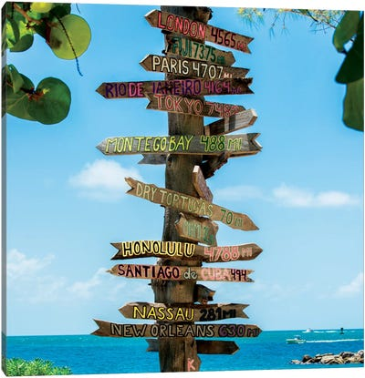 Key West Directional Sign IV Canvas Print #PHD163