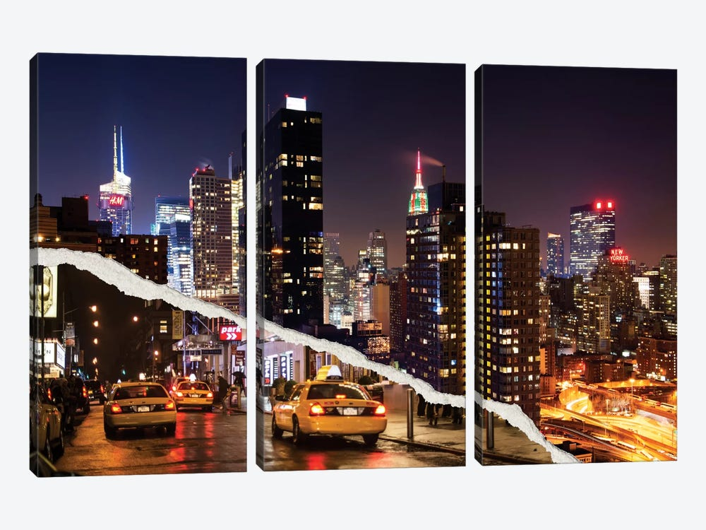 Dual Torn Series - Life Taxis in New York by Philippe Hugonnard 3-piece Canvas Art Print
