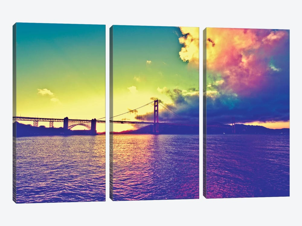 Sunset on the Bridge by Philippe Hugonnard 3-piece Canvas Art Print