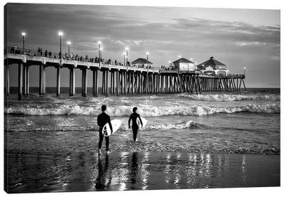 Black California Series - Huntington Beach Surf City Canvas Art Print