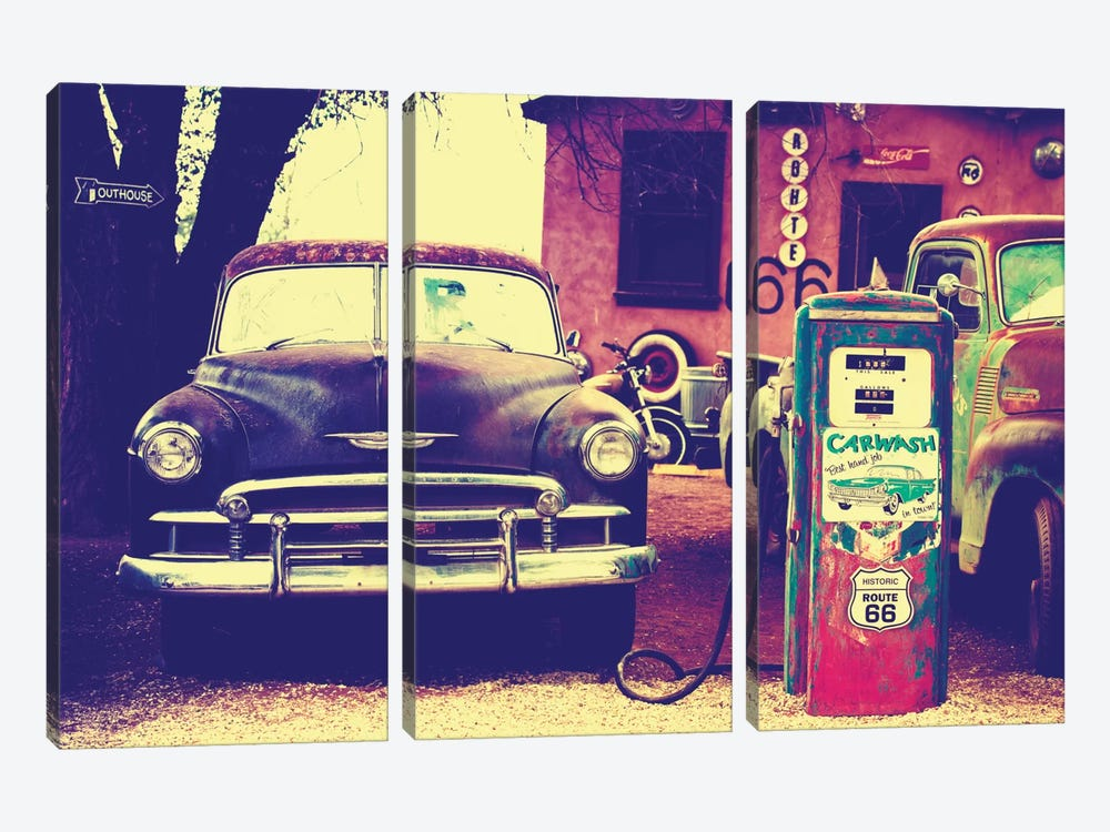 U.S. Route 66 Fill-Up Station by Philippe Hugonnard 3-piece Canvas Print