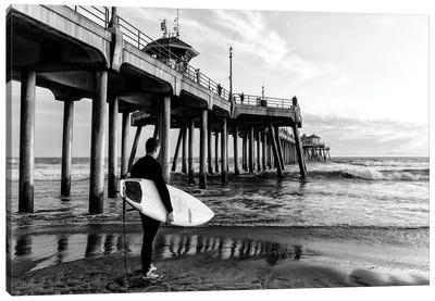 Black California Series - Huntington Beach Pier Surfer Canvas Art Print
