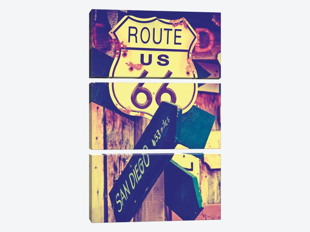 U.S. Route 66 Sign by Philippe Hugonnard 3-piece Canvas Art
