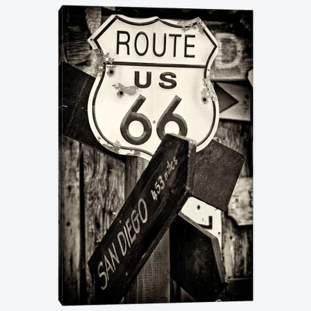 U.S. Route 66 Sign in B&W Canvas Print #PHD175} by Philippe Hugonnard Canvas Art Print