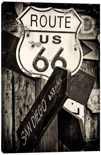 U.S. Route 66 Sign in B&W Canvas Art Print
