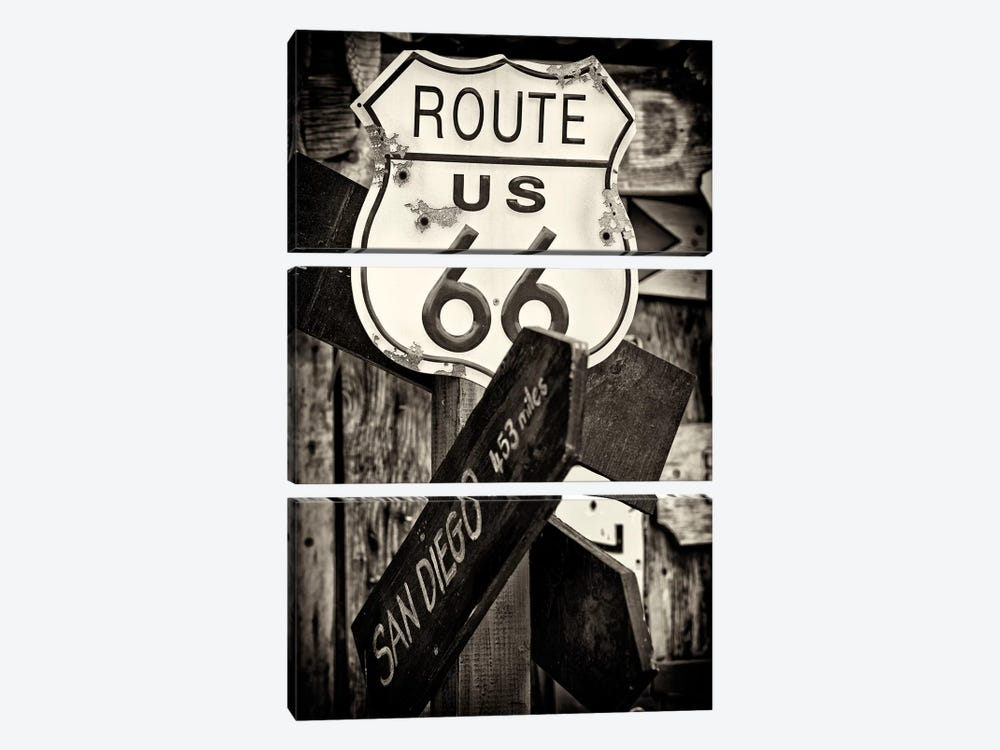 U.S. Route 66 Sign in B&W by Philippe Hugonnard 3-piece Canvas Art Print
