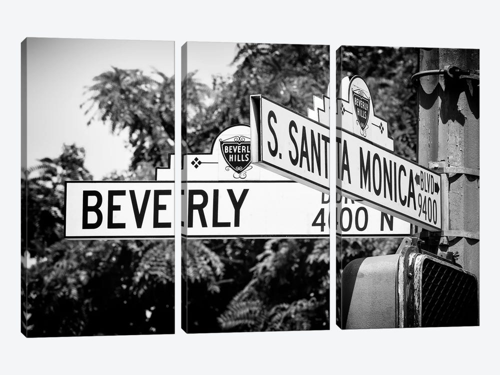 Black California Series - L.A Street Signs by Philippe Hugonnard 3-piece Canvas Art Print