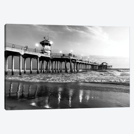 Black California Series - Huntington Beach Pier II Canvas Print #PHD1769} by Philippe Hugonnard Canvas Art