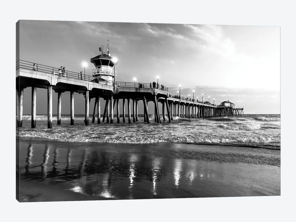 Black California Series - Huntington Beach Pier II by Philippe Hugonnard 1-piece Canvas Art