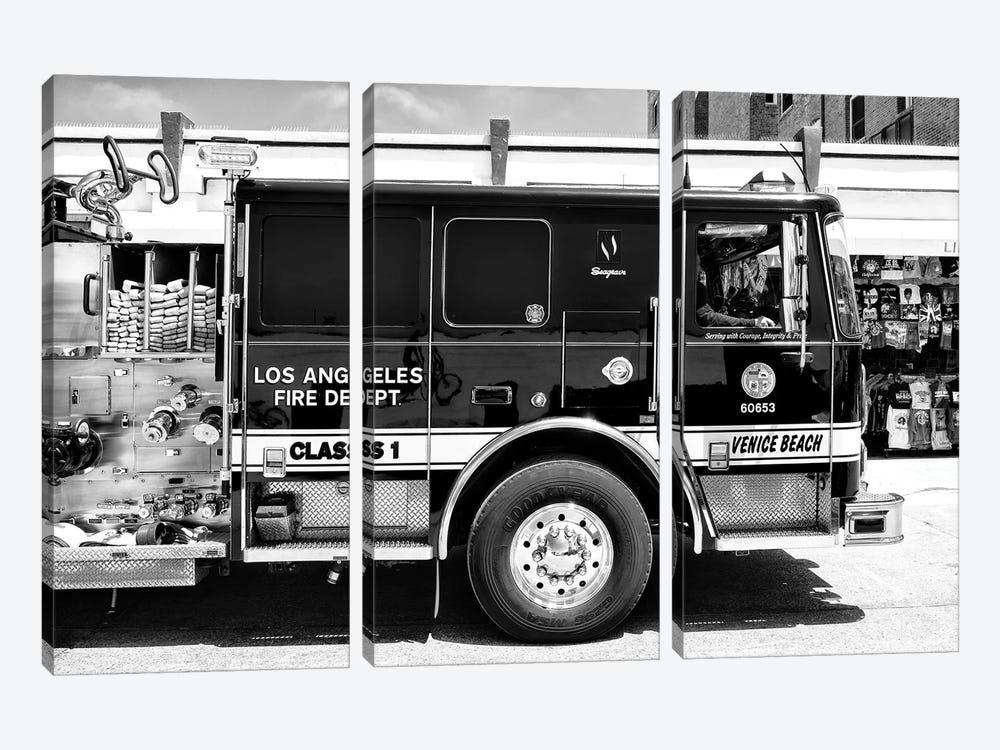 Black California Series - Venice Beach Fire Truck by Philippe Hugonnard 3-piece Art Print