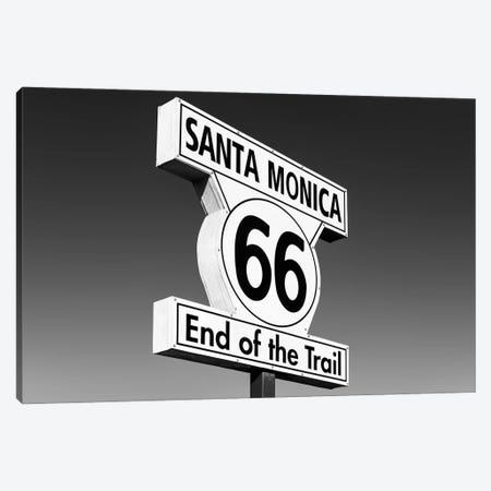 Black California Series - Santa Monica Route 66 Canvas Print #PHD1811} by Philippe Hugonnard Canvas Art