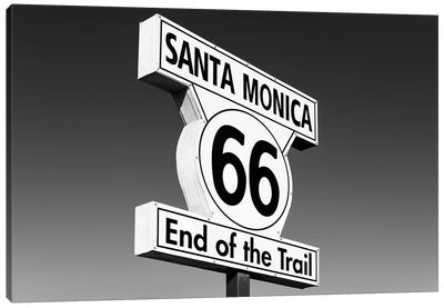 Black California Series - Santa Monica Route 66 Canvas Art Print