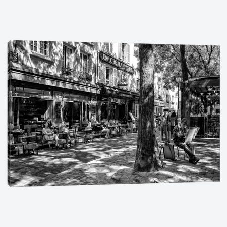 Black Montmartre Series - Place du Tertre Canvas Print #PHD1871} by Philippe Hugonnard Canvas Wall Art