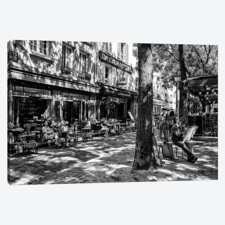 Black Montmartre Series - Place du Tertre Canvas Print #PHD1871} by Philippe Hugonnard Canvas Wall Art