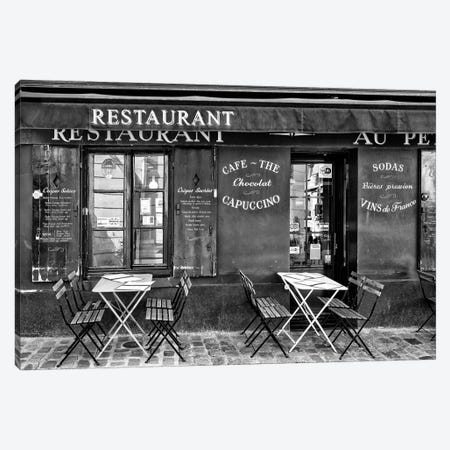 Black Montmartre Series - Café Restaurant Canvas Print #PHD1873} by Philippe Hugonnard Canvas Artwork