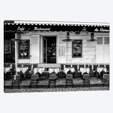 Black Montmartre Series - Paris Café Restaurant Canvas Print #PHD1875} by Philippe Hugonnard Art Print