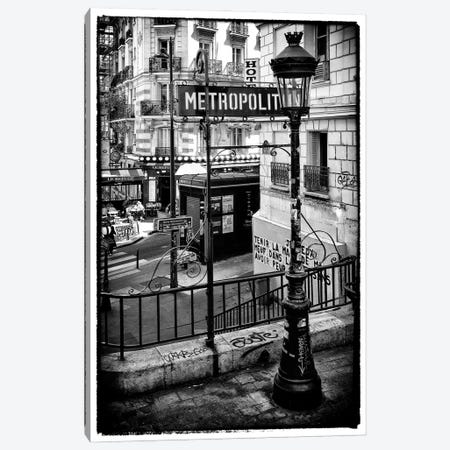 Black Montmartre Series - Paris Metro Canvas Print #PHD1878} by Philippe Hugonnard Canvas Wall Art