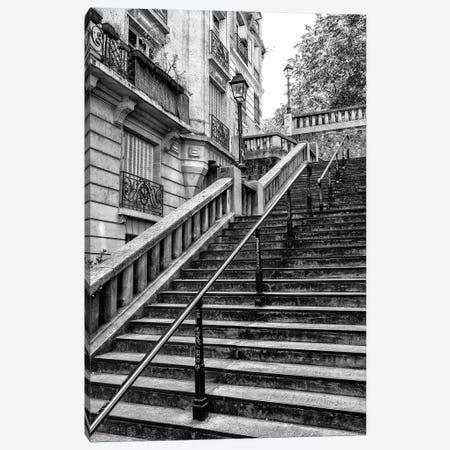 Black Montmartre Series - Parisian Stair Railing Canvas Print #PHD1879} by Philippe Hugonnard Canvas Artwork
