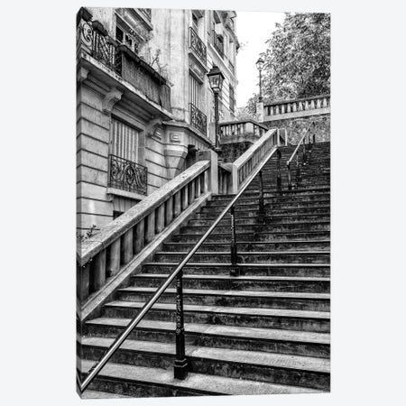 Black Montmartre Series - Parisian Stair Railing Canvas Print #PHD1879} by Philippe Hugonnard Canvas Artwork