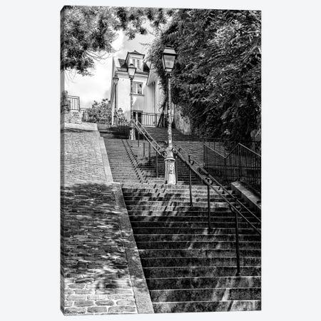 Black Montmartre Series - Stairs Climb Canvas Print #PHD1881} by Philippe Hugonnard Art Print