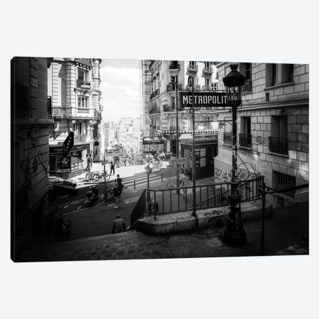 Black Montmartre Series - Paris Metropolitain Canvas Print #PHD1884} by Philippe Hugonnard Canvas Art