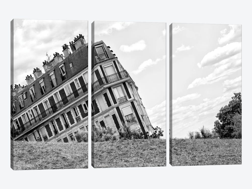 Black Montmartre Series - Sinking Building by Philippe Hugonnard 3-piece Canvas Wall Art