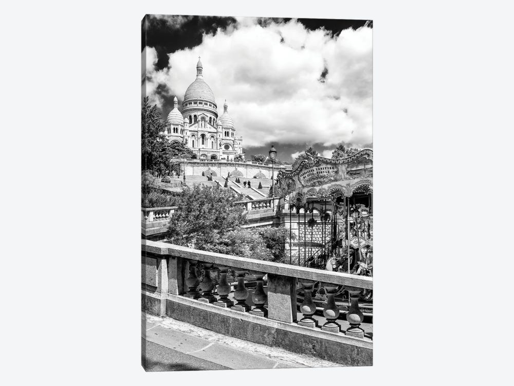 Black Montmartre Series - Carousel Sacré-Coeur by Philippe Hugonnard 1-piece Canvas Wall Art