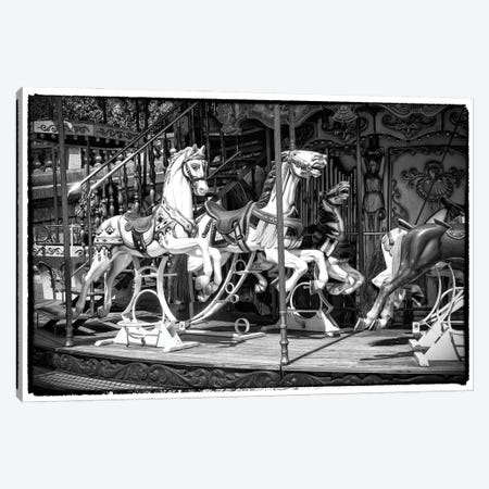 Black Montmartre Series - Paris Carousel Canvas Print #PHD1888} by Philippe Hugonnard Canvas Print
