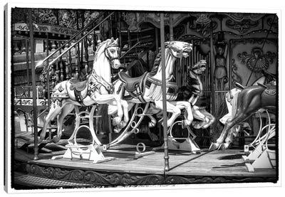 Black Montmartre Series - Paris Carousel Canvas Art Print