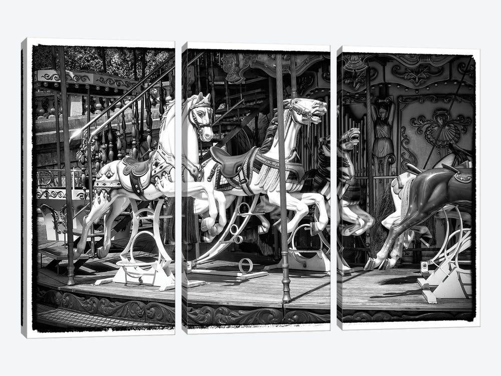 Black Montmartre Series - Paris Carousel by Philippe Hugonnard 3-piece Canvas Art Print