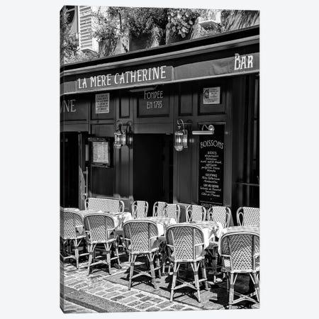 Black Montmartre Series - Parisian Restaurant Canvas Print #PHD1892} by Philippe Hugonnard Canvas Wall Art
