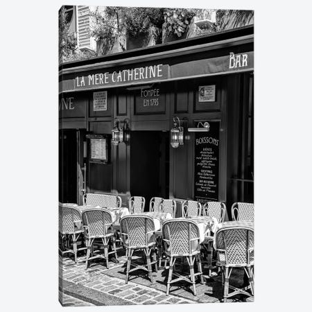 Black Montmartre Series - Parisian Restaurant Canvas Print #PHD1892} by Philippe Hugonnard Canvas Wall Art