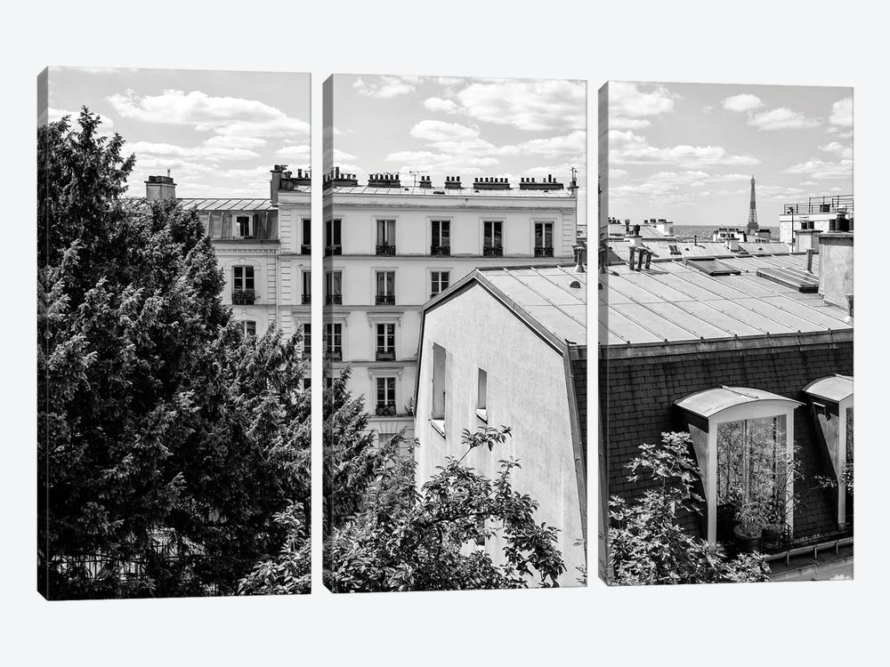 Black Montmartre Series - View Over The Rooftops of Paris by Philippe Hugonnard 3-piece Canvas Print
