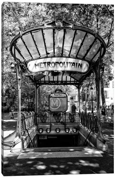 Black Montmartre Series - Abbesses Metropolitain Canvas Art Print