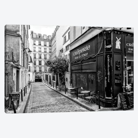 Black Montmartre Series - Old Street In Paris Canvas Print #PHD1897} by Philippe Hugonnard Canvas Print