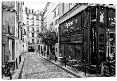 Black Montmartre Series - Old Street In Paris Canvas Art Print