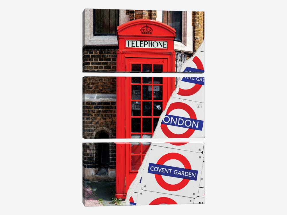 Dual Torn Series - London Booth by Philippe Hugonnard 3-piece Canvas Print
