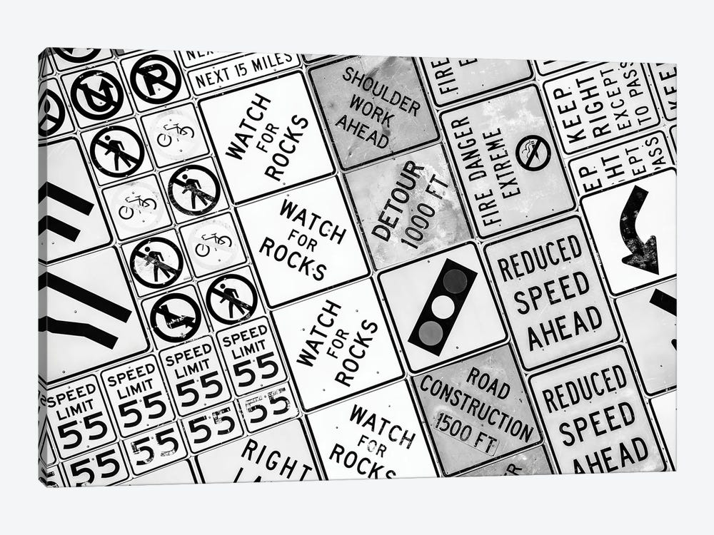 Black Nevada Series - Traffic Signs by Philippe Hugonnard 1-piece Canvas Artwork