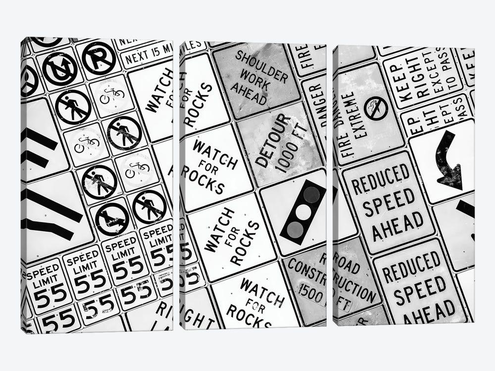 Black Nevada Series - Traffic Signs by Philippe Hugonnard 3-piece Canvas Wall Art