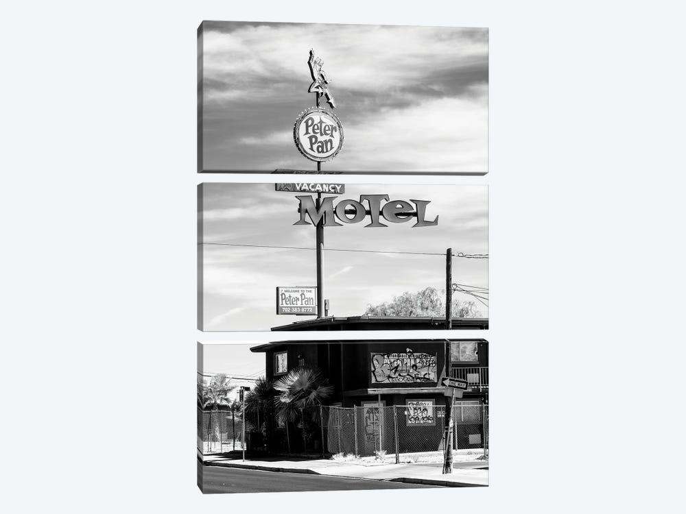 Black Nevada Series - Peter Pan Motel Old Vegas by Philippe Hugonnard 3-piece Canvas Print