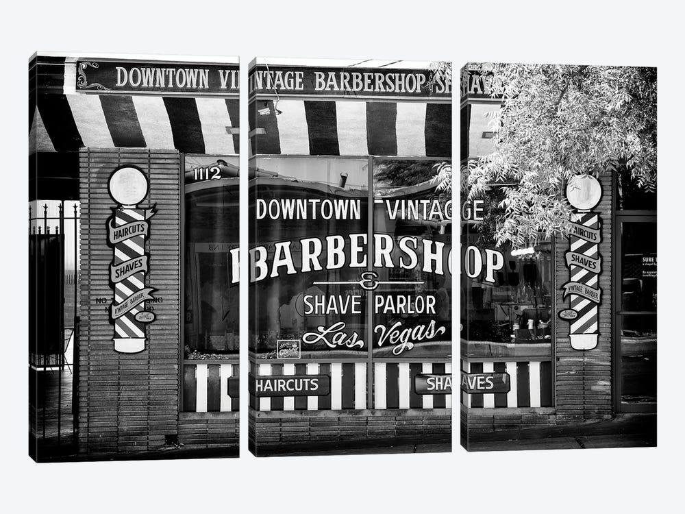 Black Nevada Series - Barbershop Las Vegas by Philippe Hugonnard 3-piece Canvas Art Print