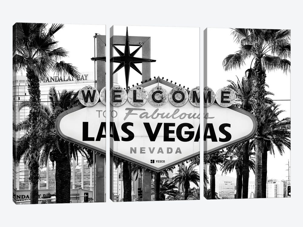Black Nevada Series - Welcome To Fabulous Las Vegas by Philippe Hugonnard 3-piece Art Print