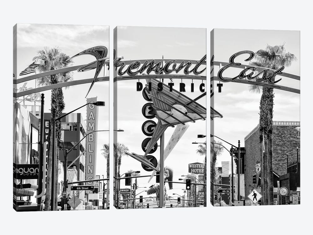 Black Nevada Series - Fremont East District by Philippe Hugonnard 3-piece Canvas Print