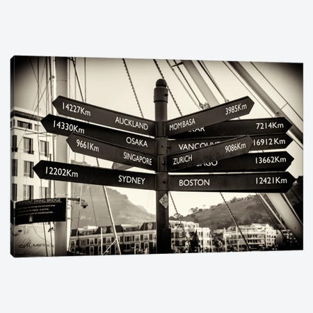 Direction Sign Cape Town Canvas Print #PHD193} by Philippe Hugonnard Canvas Artwork