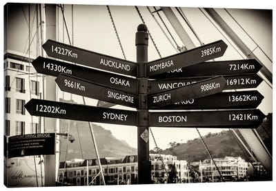Direction Sign Cape Town Canvas Art Print