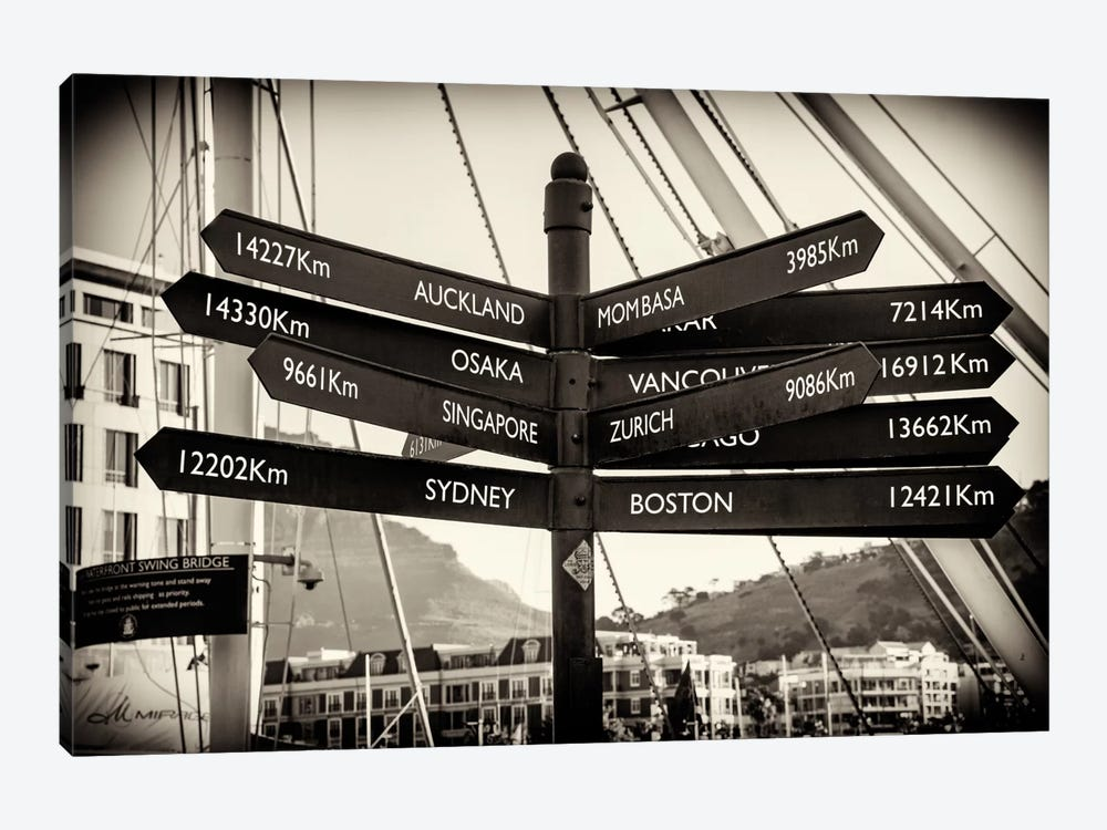 Awesome South Africa Series: Direction Sign Cape Town 1-piece Canvas Print