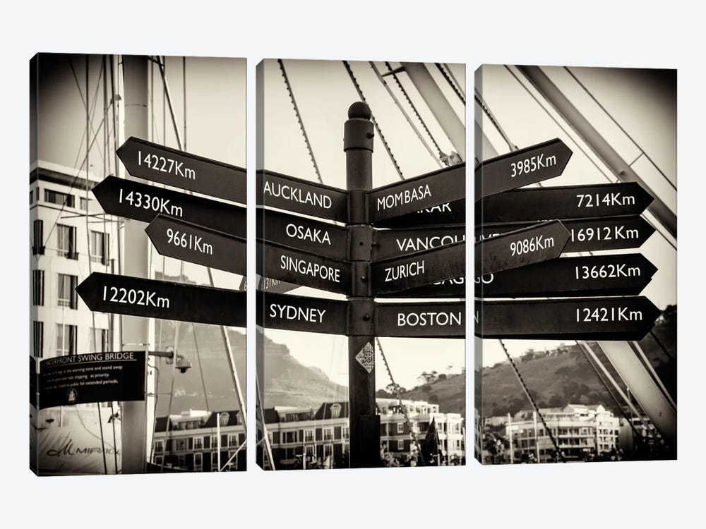 Direction Sign Cape Town by Philippe Hugonnard 3-piece Art Print