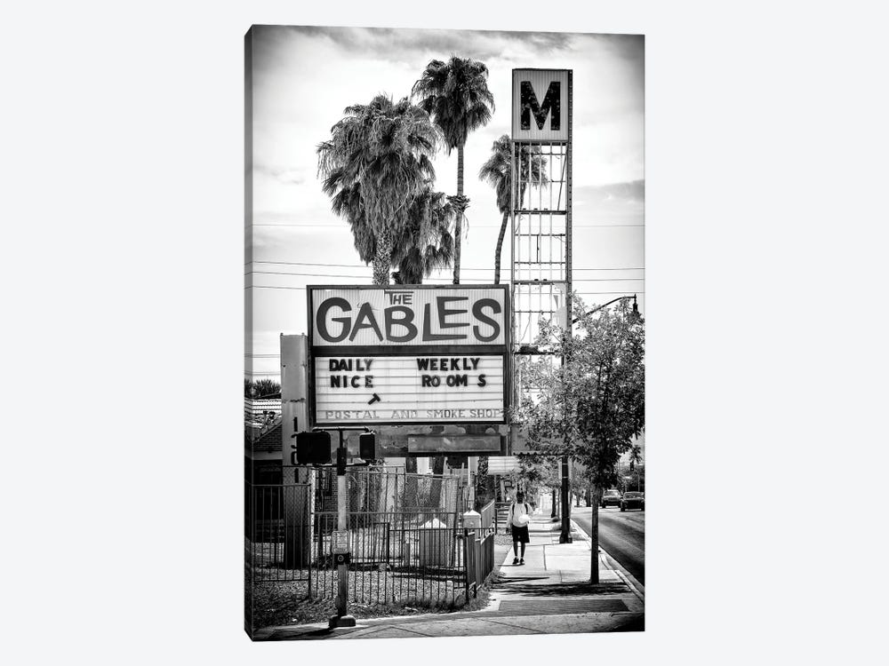Black Nevada Series - The Gables Motel Fremont Street by Philippe Hugonnard 1-piece Canvas Art