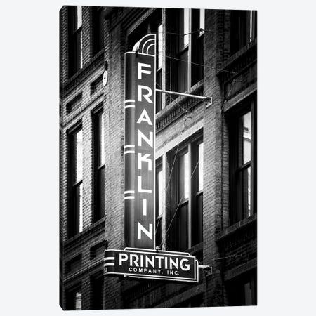 Black NOLA Series - Franklin Sign Canvas Print #PHD1955} by Philippe Hugonnard Canvas Artwork